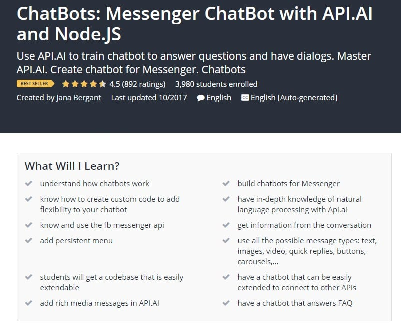 ChatBots Messenger ChatBot with API.AI and Node.JS Udemy post image