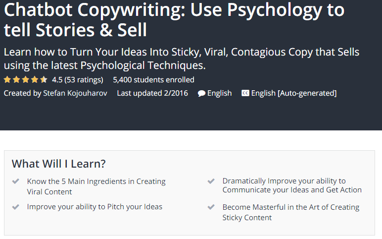 Chatbot Copywriting Use Psychology to tell Stories Sell Udemy