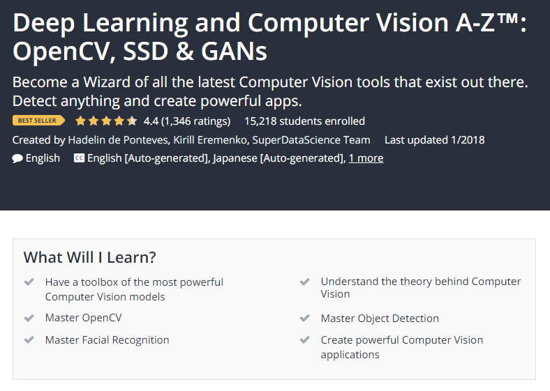 Deep Learning and Computer Vision A Z™ OpenCV SSD GANs Udemy