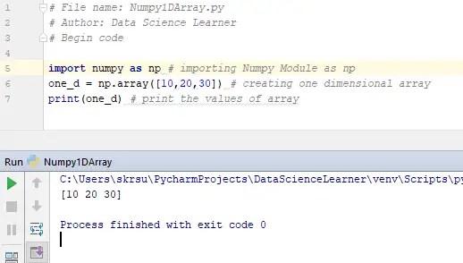 Numpy 1D array