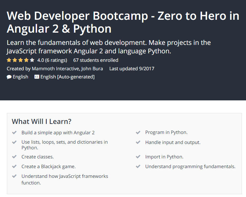 Web Developer Bootcamp Zero to Hero in Angular 2 Python Udemy.png