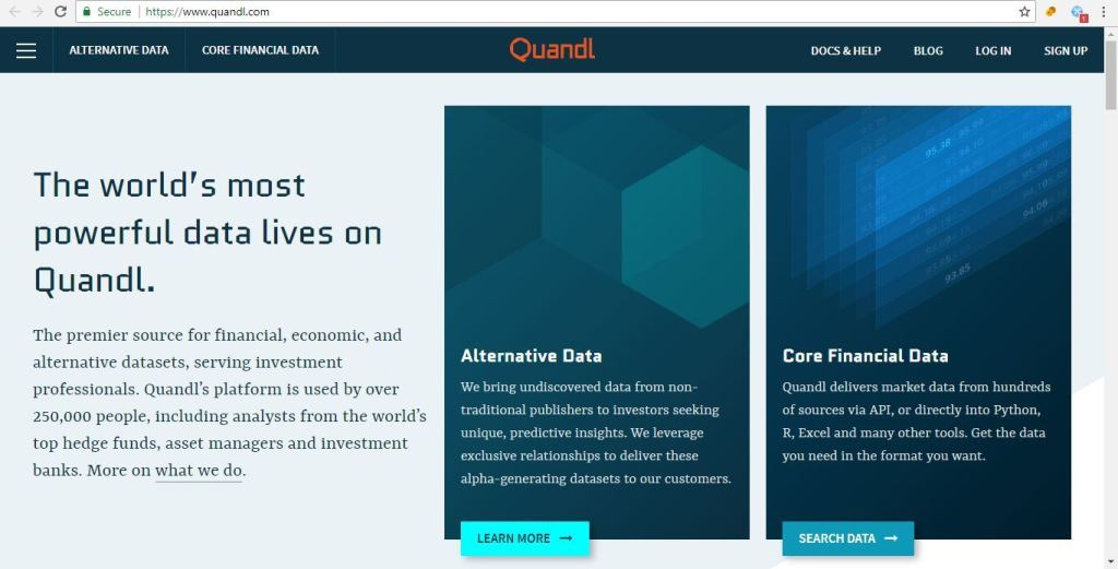 datasets for machine learning pojects Quandl