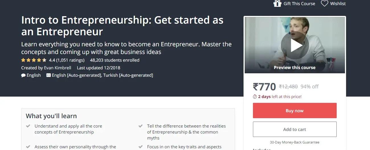 Intro to Entrepreneurship Get started as an Entrepreneur