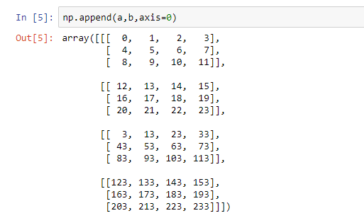 appending a and c using axis 0