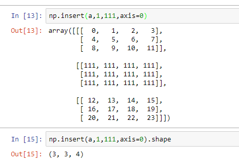 insertion of array in the axis 0