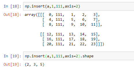 insertion of array in the axis 2