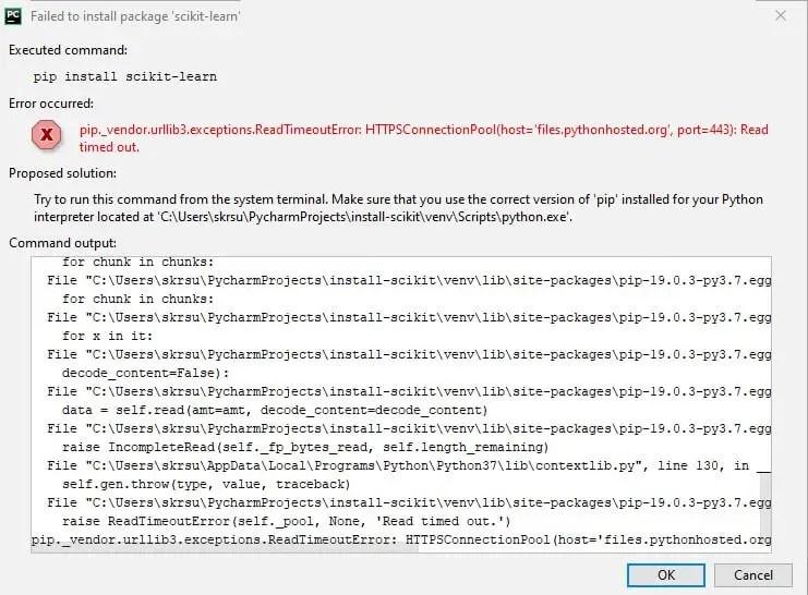 scikit learn installation error