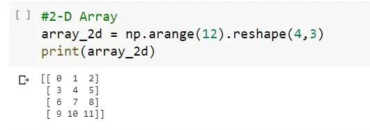 Creation of 2D- Numpy array