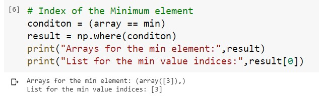 Index for the Minimum Value in 1D Array