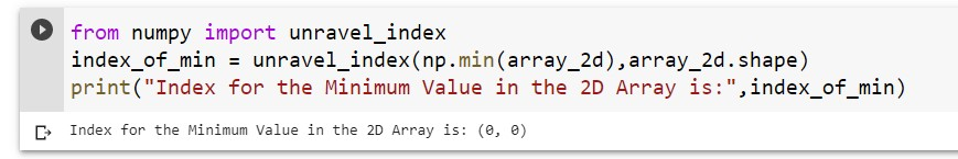 Index for the Minimum Value in 2D Array