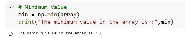 Min Value in a 1D Numpy Array