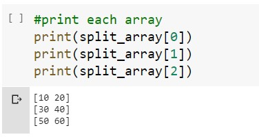 Displaying Each Split Array