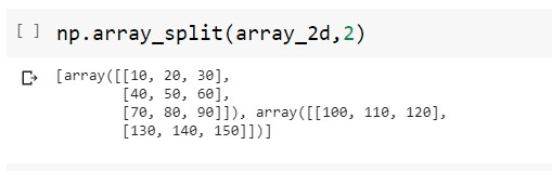 Splitting the 2D Numpy Array RowWise