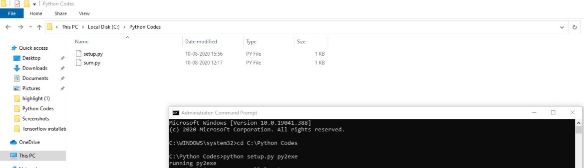 Running the setup python script with Py2exe