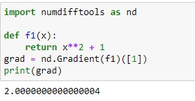 Gradient of a function in Python