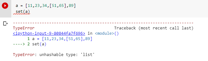unhashable type nested list into set
