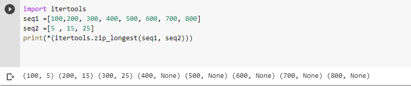 zip_longest() function with default fillvalue