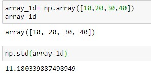 standard deviation for 1-D Array