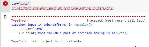 Typeerror str object is not callable %missing example