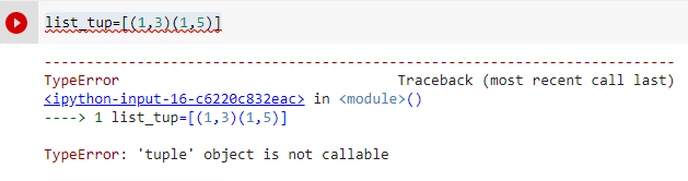 tuple object is not callable due to missing comma