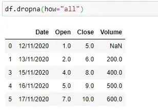 Applying dropna() on row with all NaN values