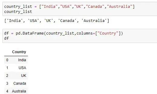 Converting simple list to dataframe