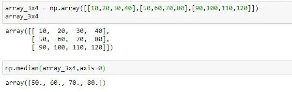 Median of each column of 2D array