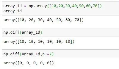 NumPy diff of 1D Array