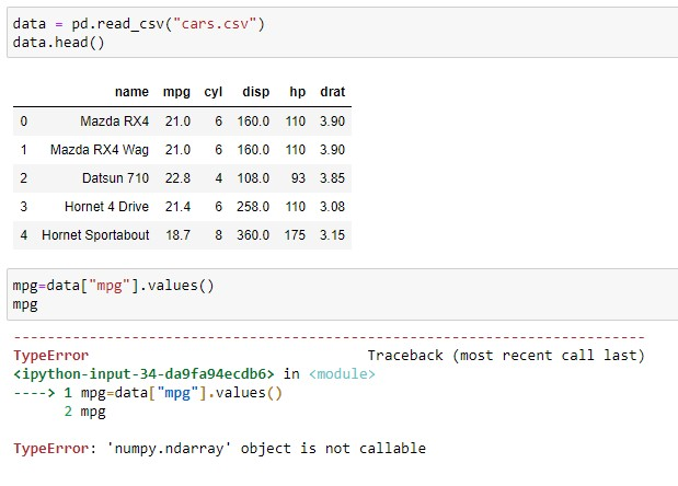 NumPy ndarray object is not callable error on read_csv