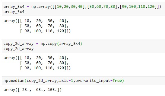 Output the median to copy array by changing the dimension