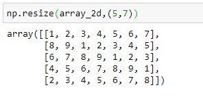 Resizing 2D Numpy array to 5x7 dimension