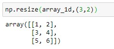 Resizing Numpy array to 3x2 dimension