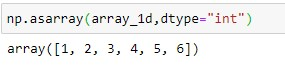 Use of numpy.asarray() with the dtype for 1D Array