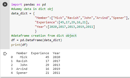 dataframe creation from dict