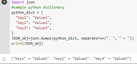 dict to json seperator example