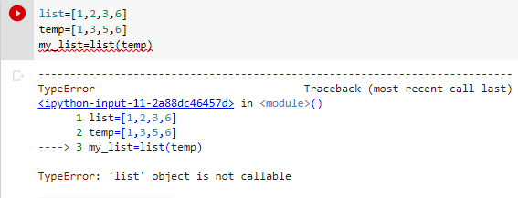 list object is not callable list as variable name