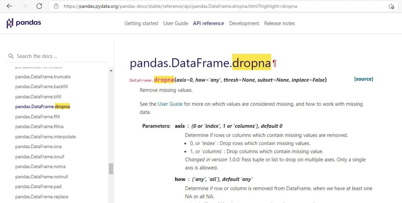 pandas dropna