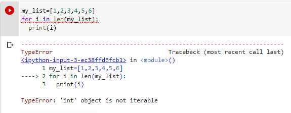 typeerror int object is not iterable example