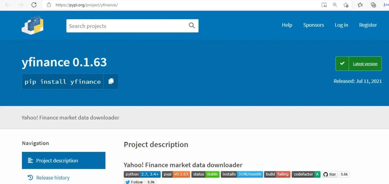 yahoo finance API