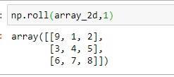 Applying roll() without axis on 2D Array