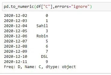 Applying to_numeric method on Column C with errors = ignore argument
