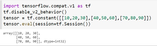 Conversion of tensor to numpy using the eval() method