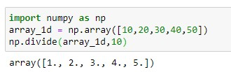 Division using numpy.divide() method