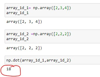 Dot product of 1D array