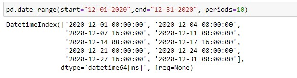 Generating dates using start, end and periods argument