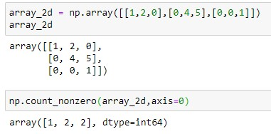 Number of Non-zero elements in 2D array for each column