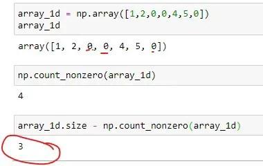 Number of zero elements in 1D array
