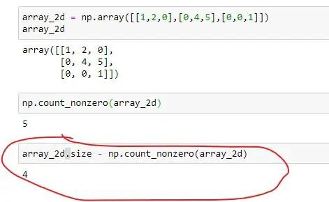 Number of zero elements in 2D array