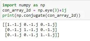 Conjugate of a 2D Numpy Array