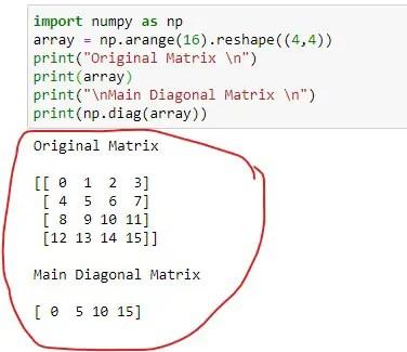 Main Diagonal Matrix